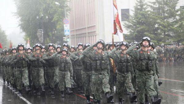 Военный парад Восточного военного округа в Хабаровске в честь 75-летия Победы. 24 июня 2020