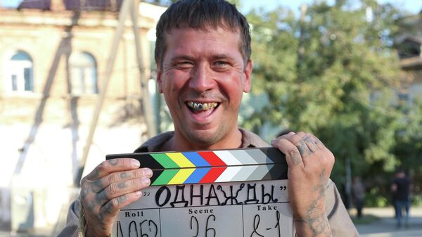 Актер Андрей Мерзликин на съемках фильма Рената Давлетьярова Однажды в Астрахани.