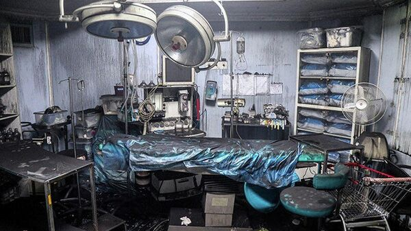 Место взрыва в медицинской клинике на севере Тегерана