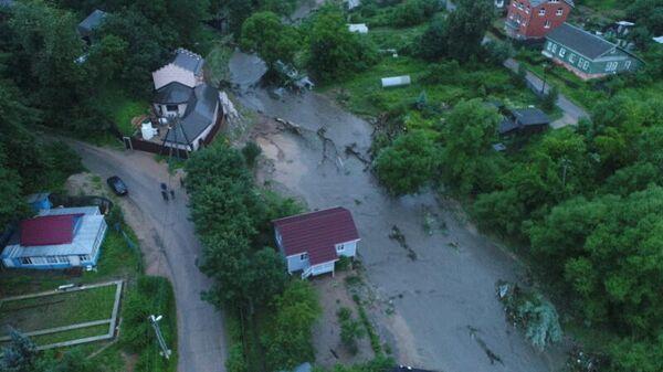 Последствия поднятия уровня воды в реке Городянка в результате подмыва технической насыпи в городском поселении Руза