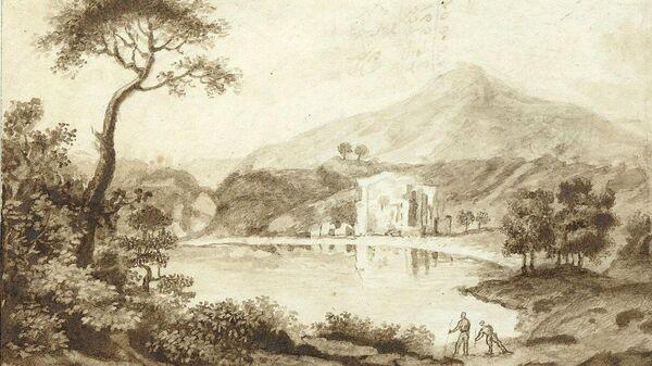 Лист из альбома Южный пейзаж с озером и горами на заднем плане Тропинина Василия Андреевича