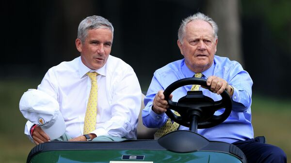 DUBLIN, OHIO - JULY 16: PGA Tour Commissioner Jay Monahan and Jack Nicklaus ride in a cart during the first round of The Memorial Tournament on July 16, 2020 at Muirfield Village Golf Club in Dublin, Ohio.   Sam Greenwood/Getty Images/AFP