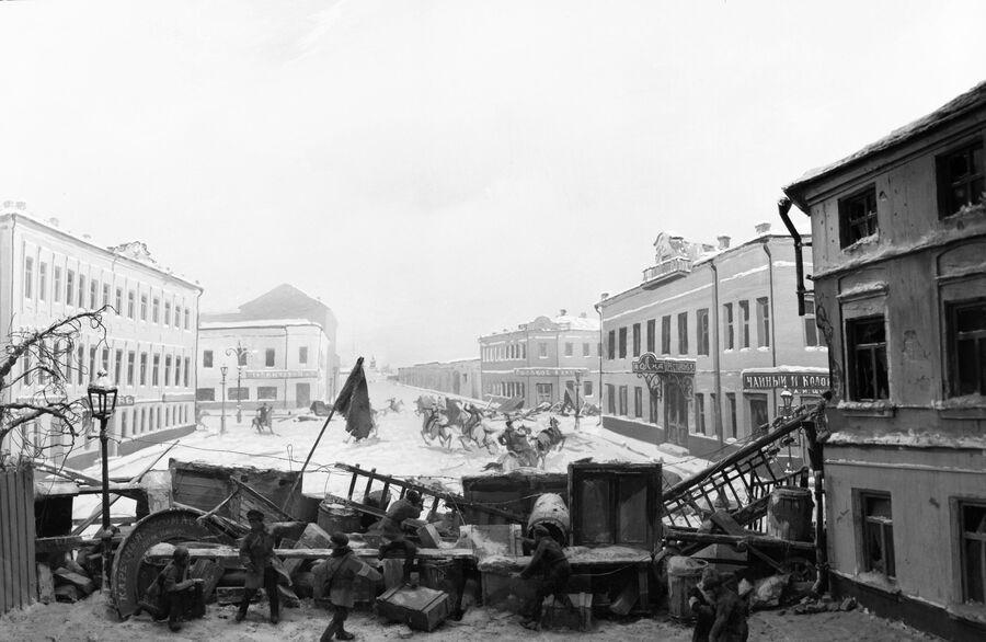 Бой у баррикады на Пименовской (Краснопролетарской) улице. Москва, 1905 год