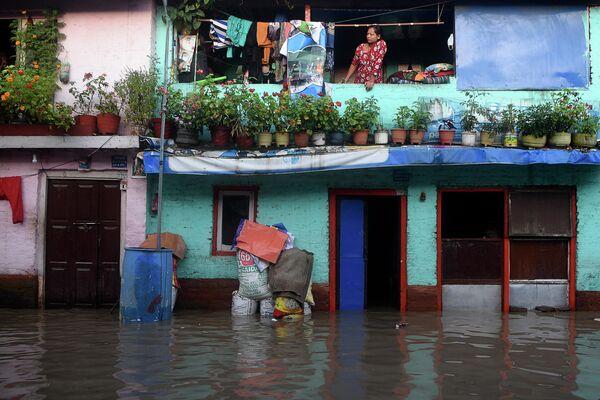 Последствия наводнения в Катманду