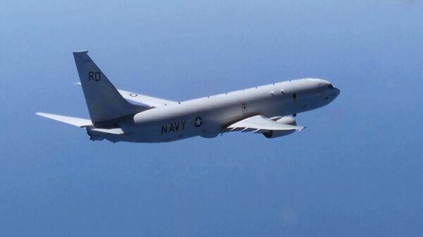 Американский самолет-разведчик Р-8А Посейдон над Черным морем. Скриншот видео