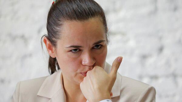 Светлана Тихановская на пресс-конференции по итогам президентских выборов в Минске, 10 августа 2020