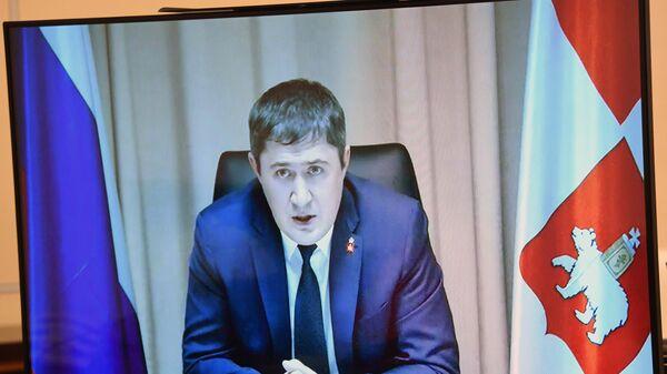 Рабочая встреча президента РФ В. Путина с врио губернатора Пермской области Д. Махониным