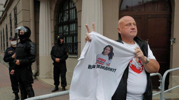 Протест против результатов президентских выборов перед штабом Министерства внутренних дел в Минске, Беларусь