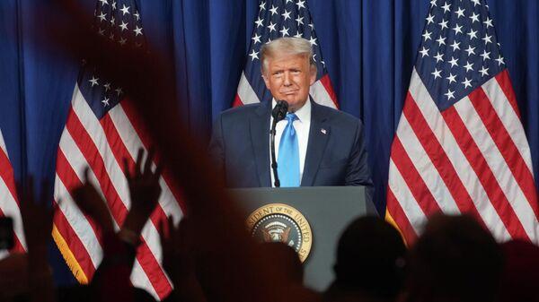 Президент США Дональд Трамп выступает на съезде Республиканской партии США