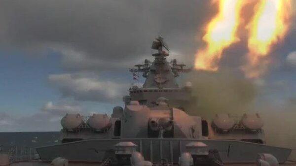 Учения Океанский щит:  уничтожение морской цели с крейсера Варяг и подлодки Омск