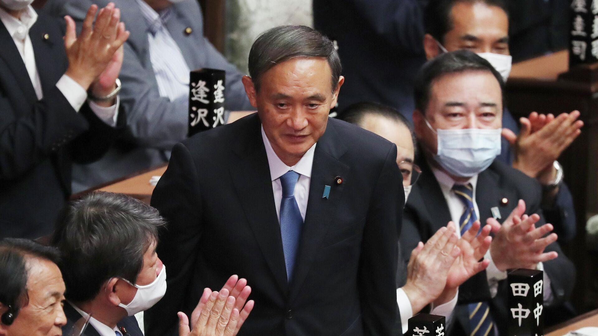 Есихидэ Суга в нижней палате парламента после избрания новым премьер-министром Японии - РИА Новости, 1920, 16.09.2020