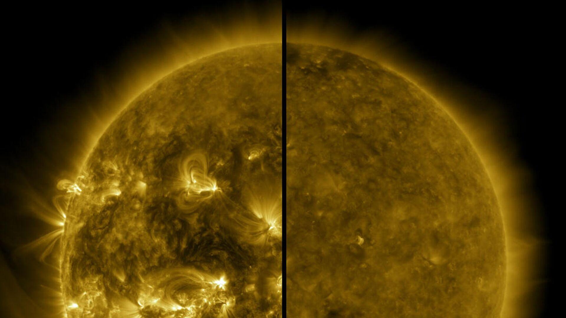 Разница между максимумом (слева - апрель 2014 года) и минимумом (справа - декабрь 2019 года) солнечной активности - РИА Новости, 1920, 16.09.2020
