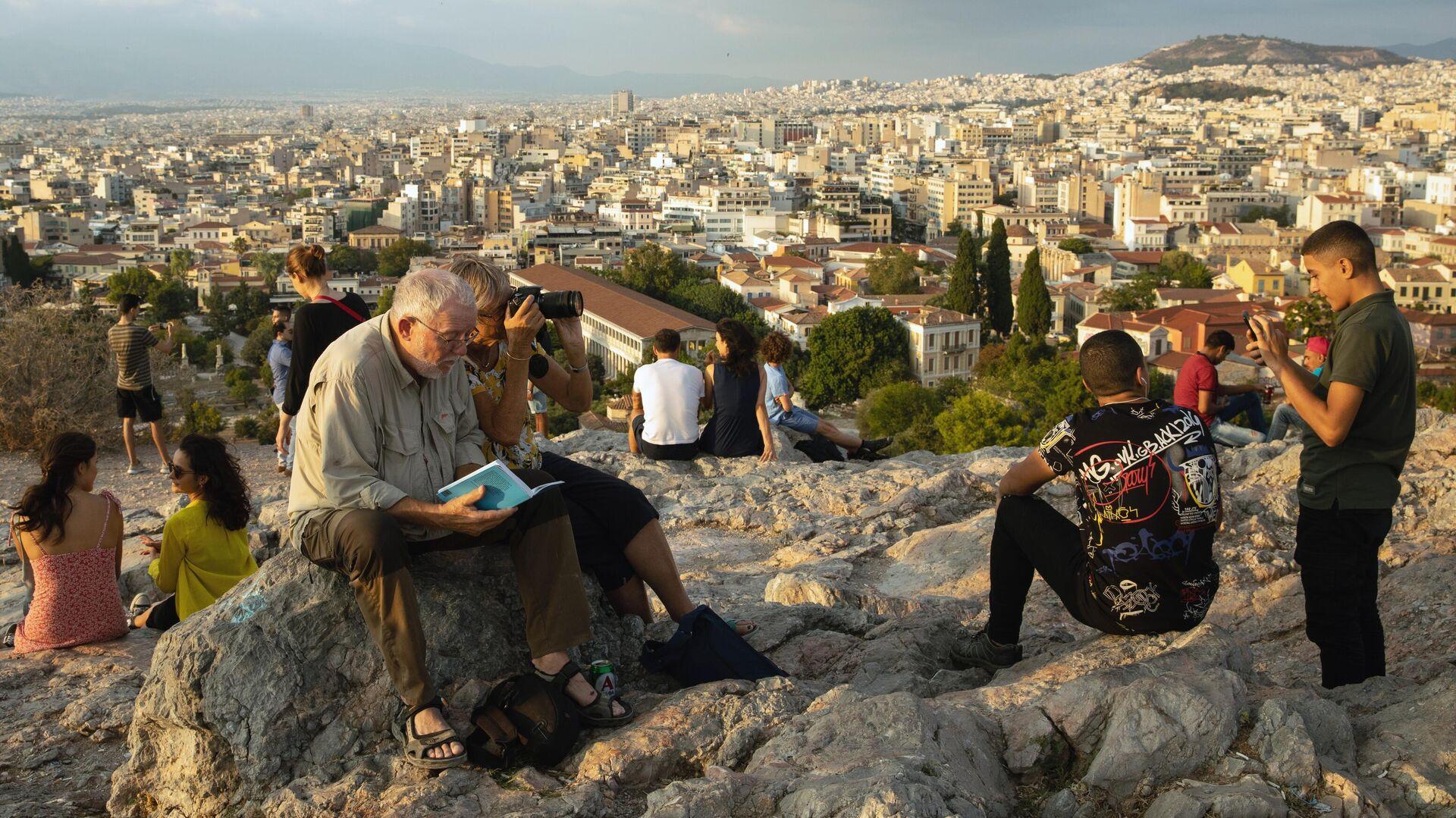 Туристы на холме Акрополь в Афинах - РИА Новости, 1920, 25.01.2021