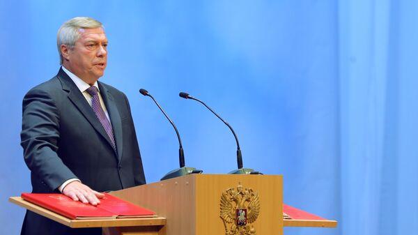 Василий Голубев во время церемонии инаугурации в Ростовском музыкальном театре