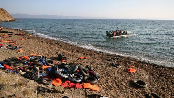 Беженцы из Сирии, Ирака, Эритреи на острове Лесбос в Греции