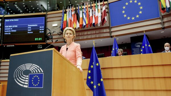 Президент Европейской комиссии Урсула фон дер Ляйен во время выступления в Брюсселе