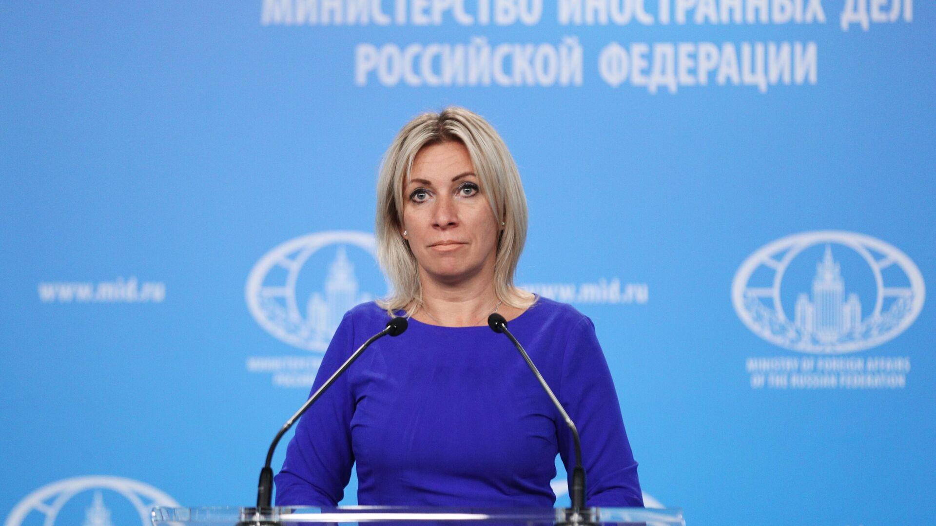 Официальный представитель Министерства иностранных дел России Мария Захарова во время брифинга - РИА Новости, 1920, 25.09.2020