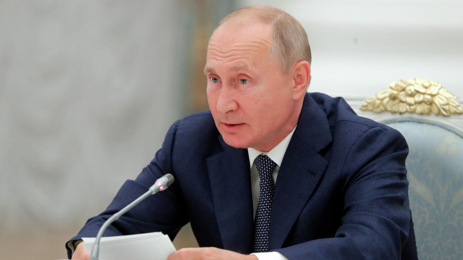 Президент РФ Владимир Путин во время встречи с работниками атомной отрасли - РИА Новости, 1920, 23.09.2020