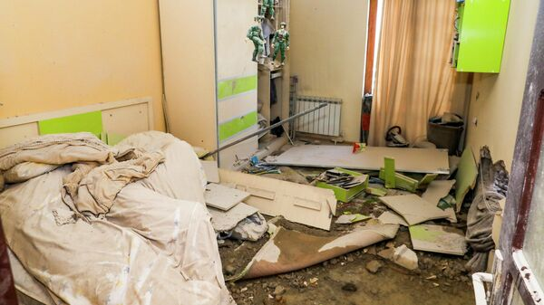 Квартира в Нагорном Карабахе, разрушенная после обстрела