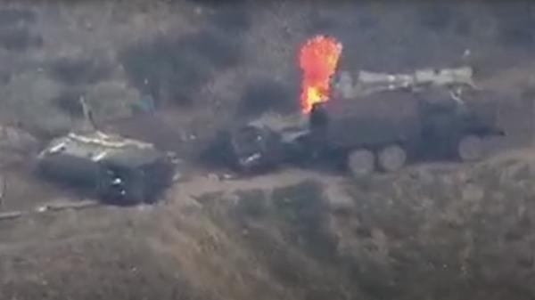 Уничтожение колонны азербайджанской бронетехники
