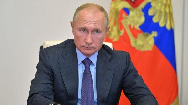 Президент РФ Владимир Путин в режиме видеоконференции проводит совещание о развитии и декриминализации лесного комплекса