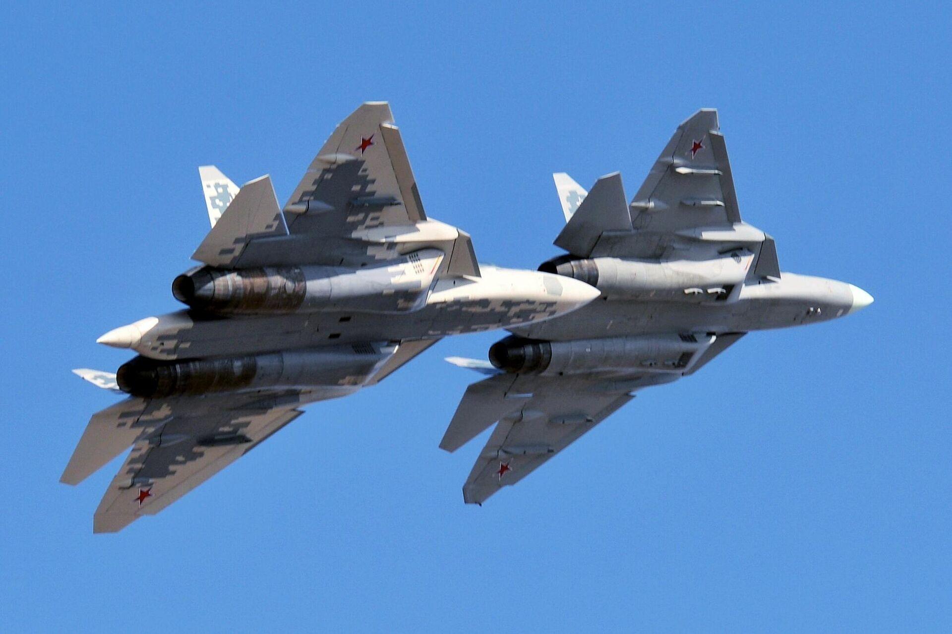 Многофункциональные истребители пятого поколения Су-57 - РИА Новости, 1920, 20.01.2021