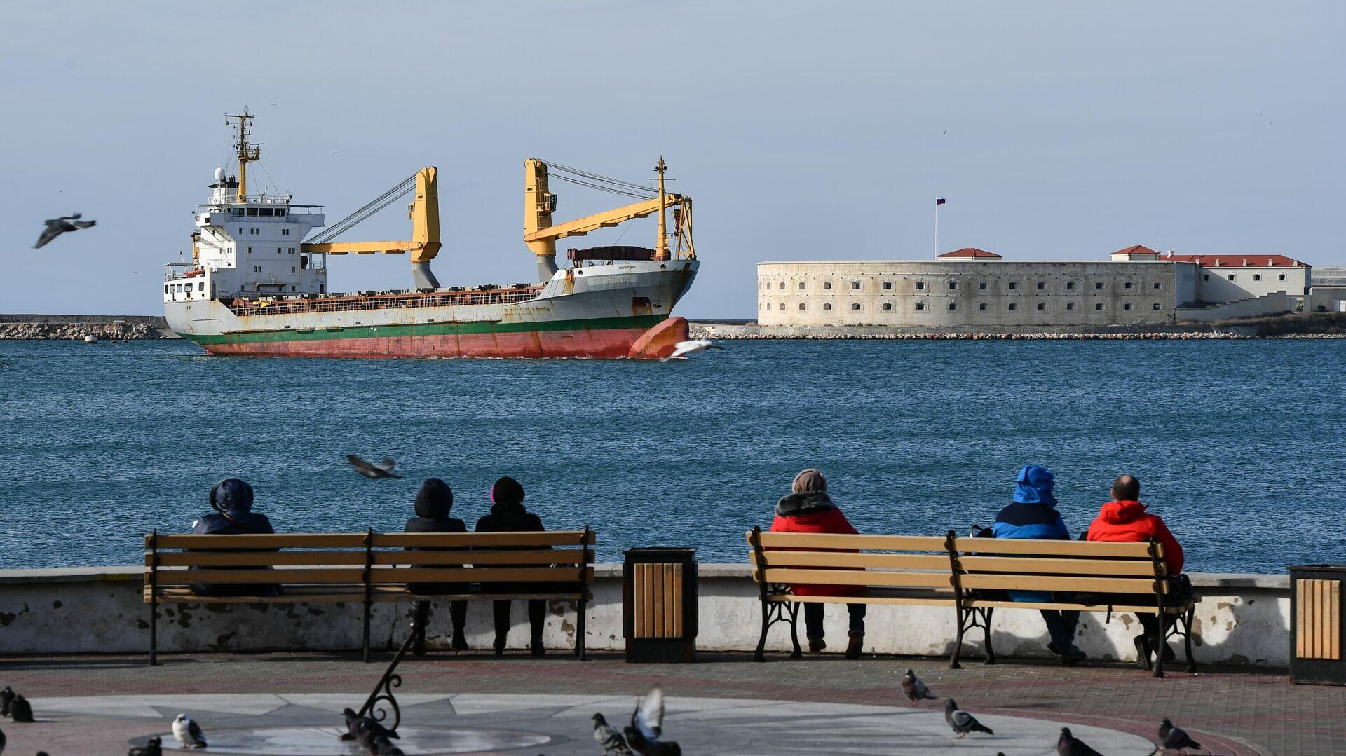 Вид на грузовой корабль и Константиновский Форт с набережной Севастополя - РИА Новости, 1920, 16.10.2020