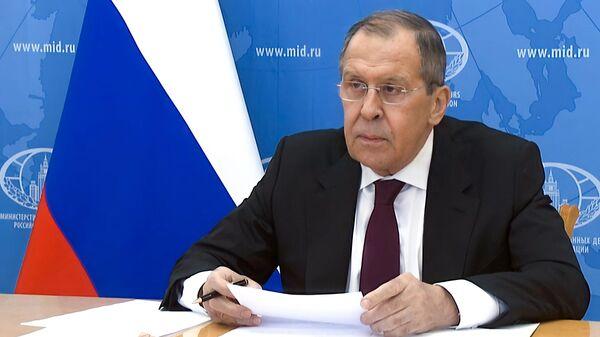 Министр иностранных дел РФ Сергей Лавров во время заседания в режиме видеоконференции с Советом Безопасности ООН