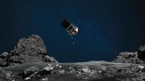 Художественное изображение момента приближения OSIRIS-REx к поверхности астероида Бенну