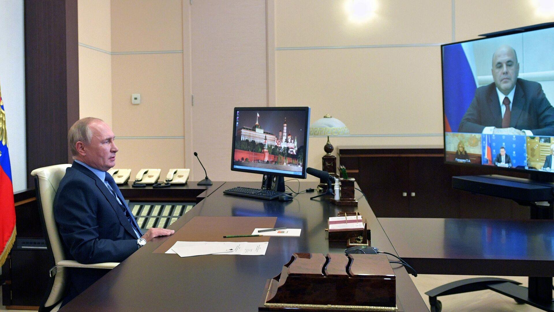 Президент РФ Владимир Путин проводит в режиме видеосвязи совещание по экономическим вопросам - РИА Новости, 1920, 23.10.2020