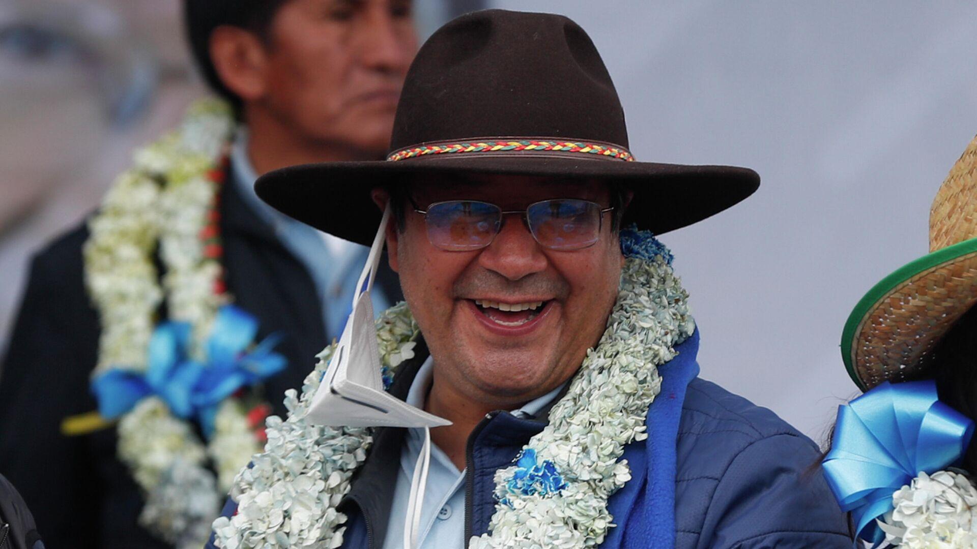 Новоизбранный президент Боливии Луис Арсе после объявления окончтельного результата официального подсчета голосов - РИА Новости, 1920, 06.11.2020