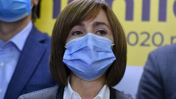 Кандидат на пост президента Молдавии Майя Санду на пресс-конференции в Кишиневе,