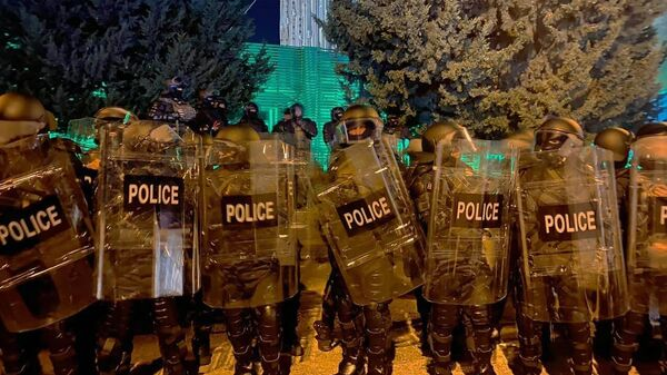 Сотрудники полиции на заднем дворе ЦИК Грузии в Тбилиси