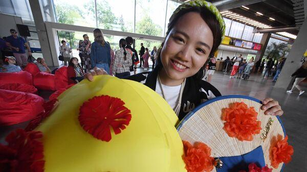 Участник фестиваля японской культуры J-FEST Summer 2019 на площади Искусств перед Музеем Гараж в ЦПКиО имени М. Горького.