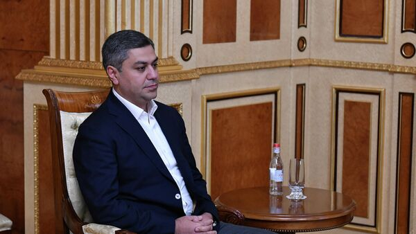 Председатель партии Родина Артур Ванецян во время встречи с президентом Армении