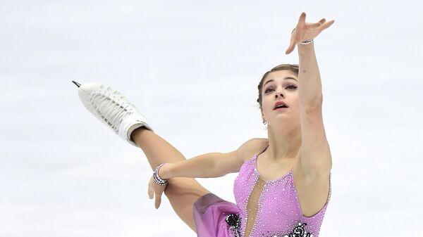 Алена Косторная выступает с произвольной программой в женском одиночном катании на IV этапе Кубка России - Ростелеком 2020-2021 гг. по фигурному катанию в Казани.
