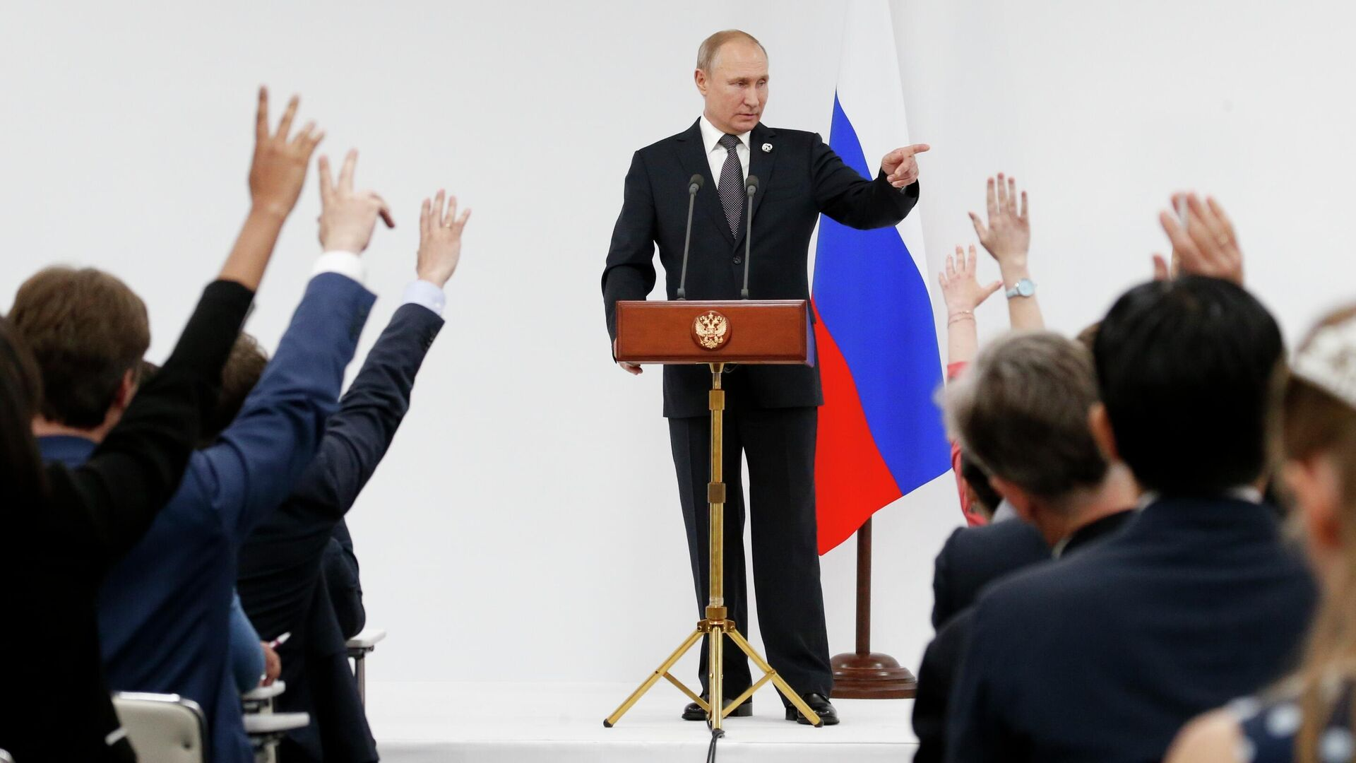 Президент РФ Владимир Путин на пресс-конференции по итогам саммита Группы двадцати - РИА Новости, 1920, 20.11.2020