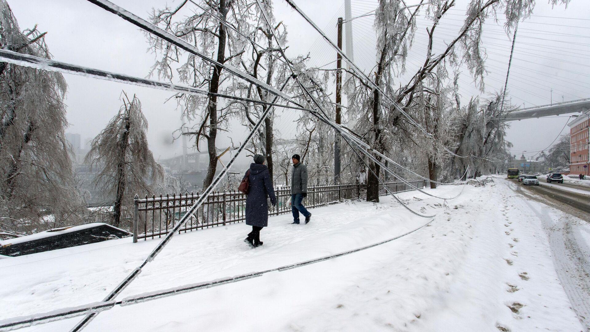 Последствия снежного циклона во Владивостоке - РИА Новости, 1920, 03.01.2021