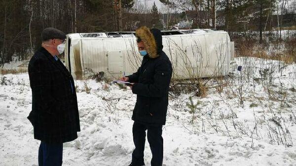 На месте ДТП с участием автобуса в Иркутской области