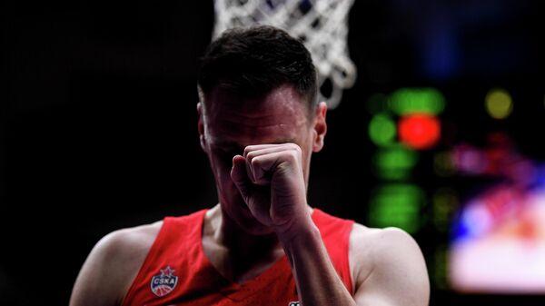 Игрок ПБК ЦСКА Йоханнес Фогтманн в матче 23-го тура регулярного чемпионата мужской баскетбольной Евролиги сезона 2019/2020 между ПБК ЦСКА (Москва, Россия) и БК Анадолу Эфес (Стамбул, Турция).