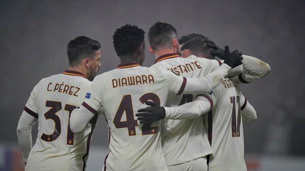 Футболисты Ромы в матче Лиги Европы
