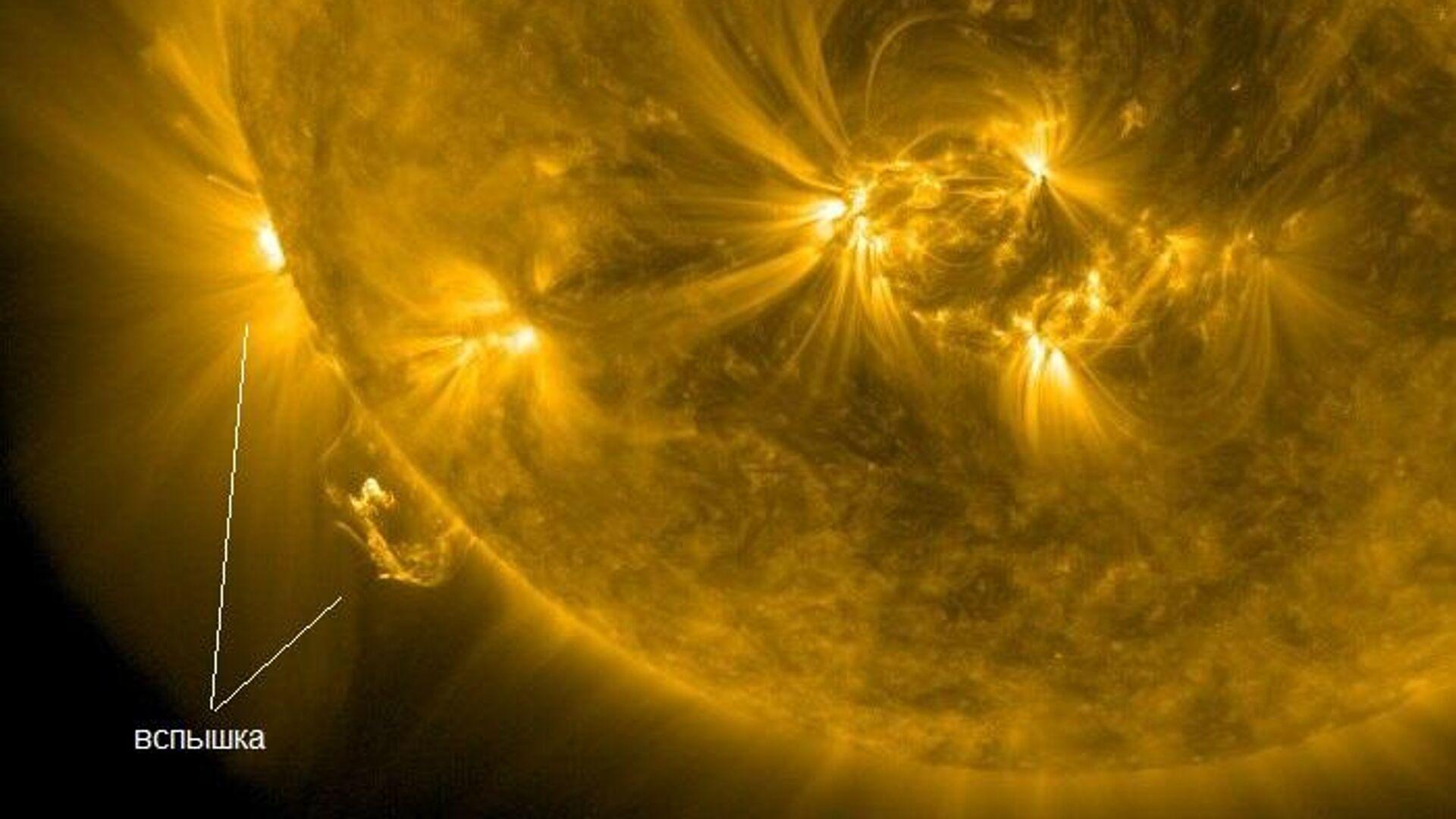 Солнечная вспышка 29 ноября 2020 года. Показаны высоко расположенные области вспышки, видимые из-за края диска - РИА Новости, 1920, 30.11.2020