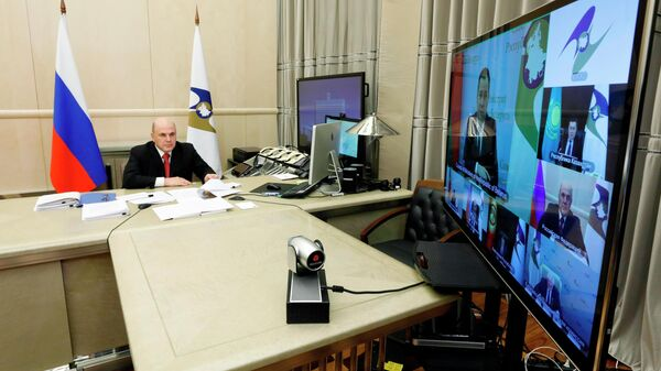 Председатель правительства РФ Михаил Мишустин принимает участие в режиме видеоконференции в заседании Евразийского межправительственного совета стран ЕАЭС