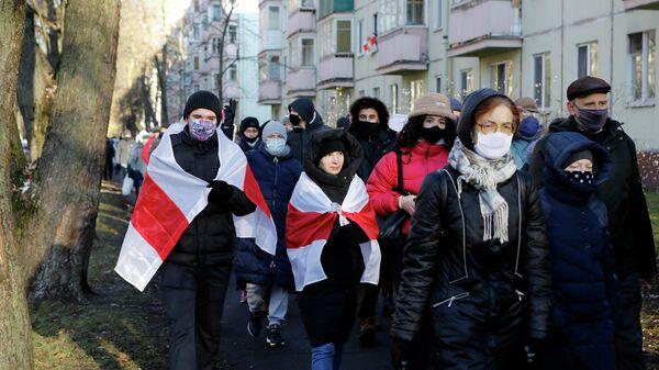 Участники несанкционированной акции протеста в Минске