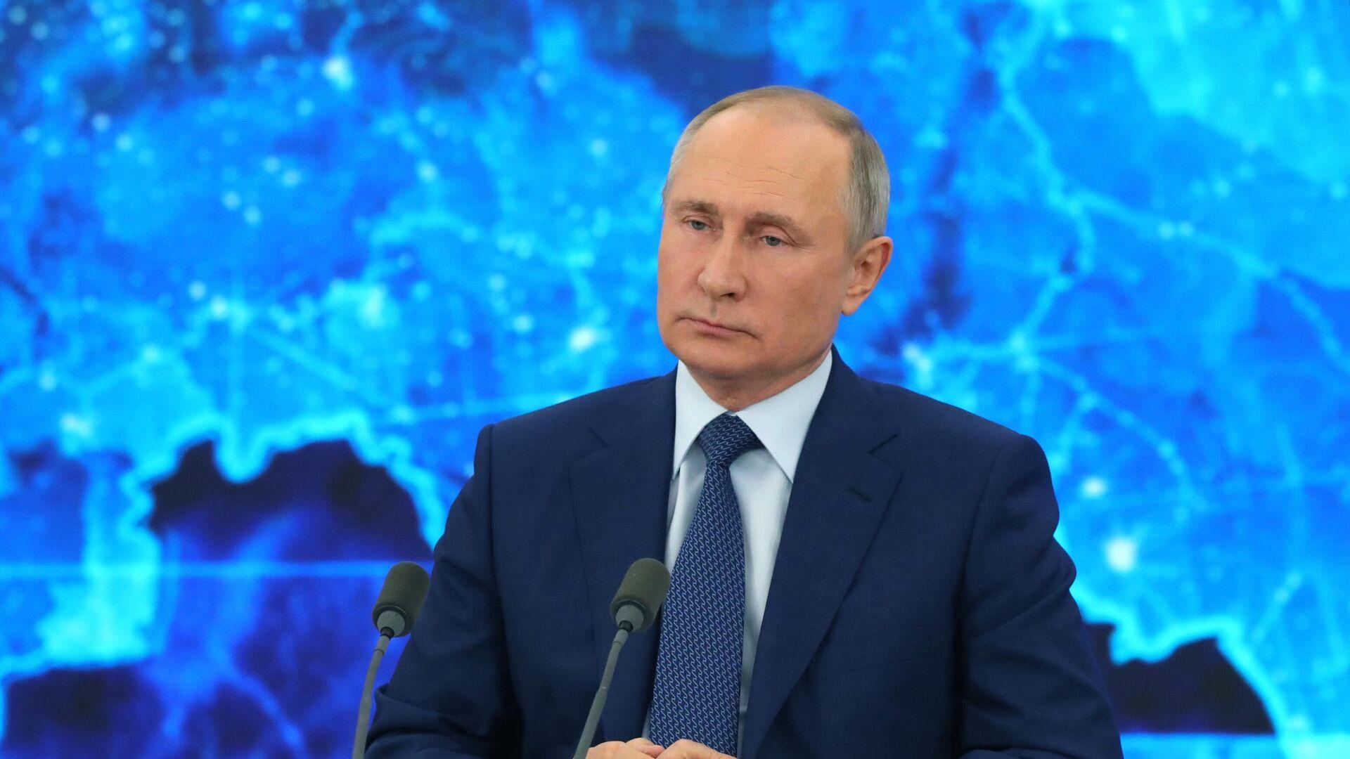 Президент РФ Владимир Путин на большой ежегодной пресс-конференции в режиме видеоконференции - РИА Новости, 1920, 18.12.2020