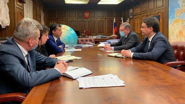 Встреча первого замминистра транспорта РФ, руководителя Росавиации Александра Нерадько с губернатором Омской области Бурковым