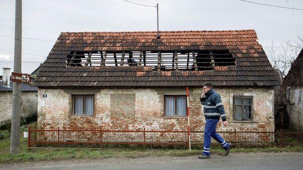 Дом, пострадавший в результате землетрясения в Хорватии