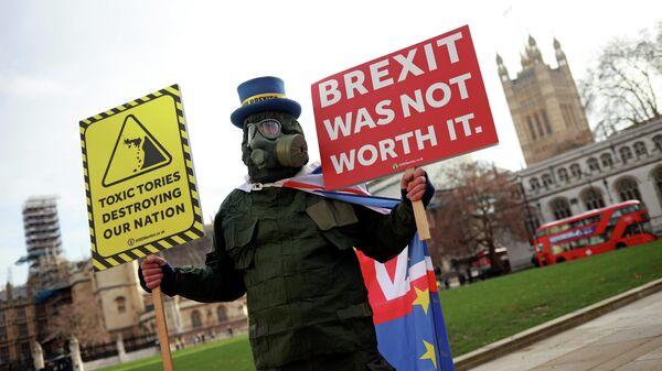 Участник акции протеста против Brexit в центре Лондона