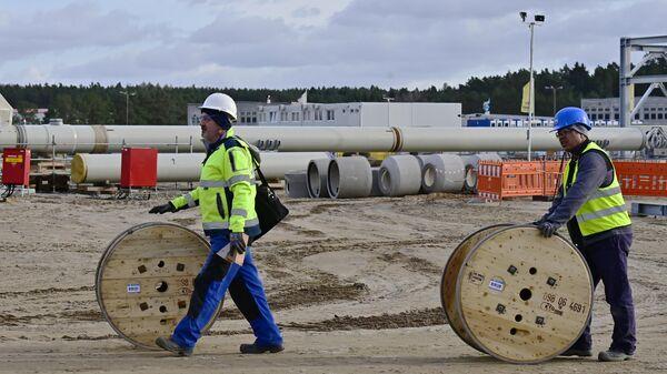 Строительство газопровода Nord Stream-2 в немецком Любмине