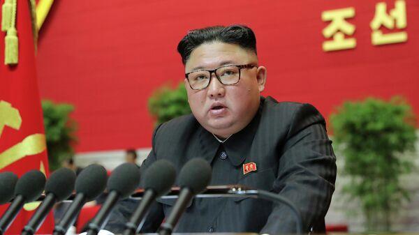 Лидер КНДР Ким Чен Ын на 8-ом Конгрессе Рабочей партии в Пхеньяне, Северная Корея